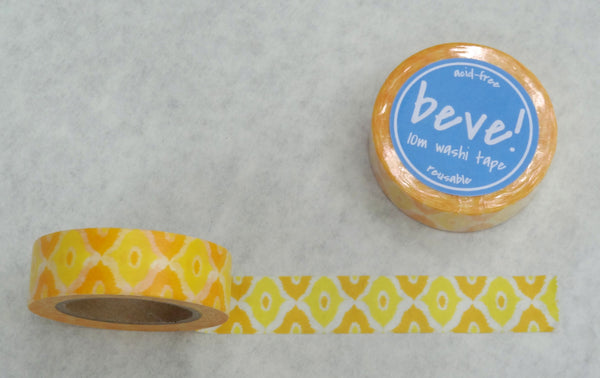 Ikat print in a summer yellow orange washi tape. A beve original design with a collection of washi tapes.