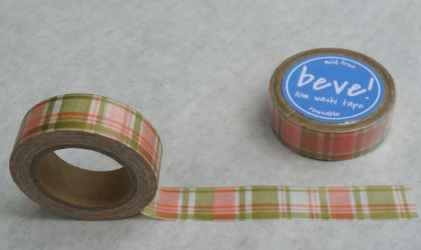 Coral and gold fabric pattern washi tape.