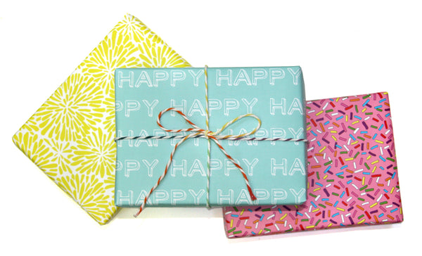 Acid Green Chrysanthemum, Blue HAPPY and Sprinkle gift wraps by beve
