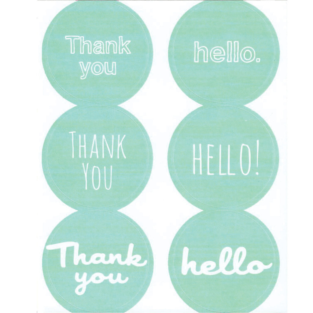 aqua thank you hello stickers