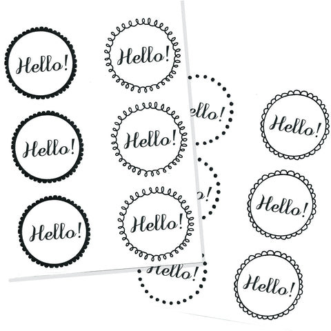 black and white hello stickers