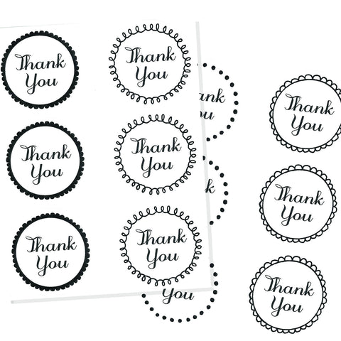 black and white thank you stickers