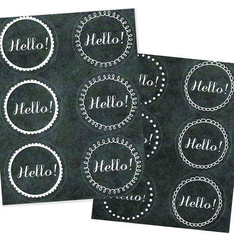 chalkboard hello stickers