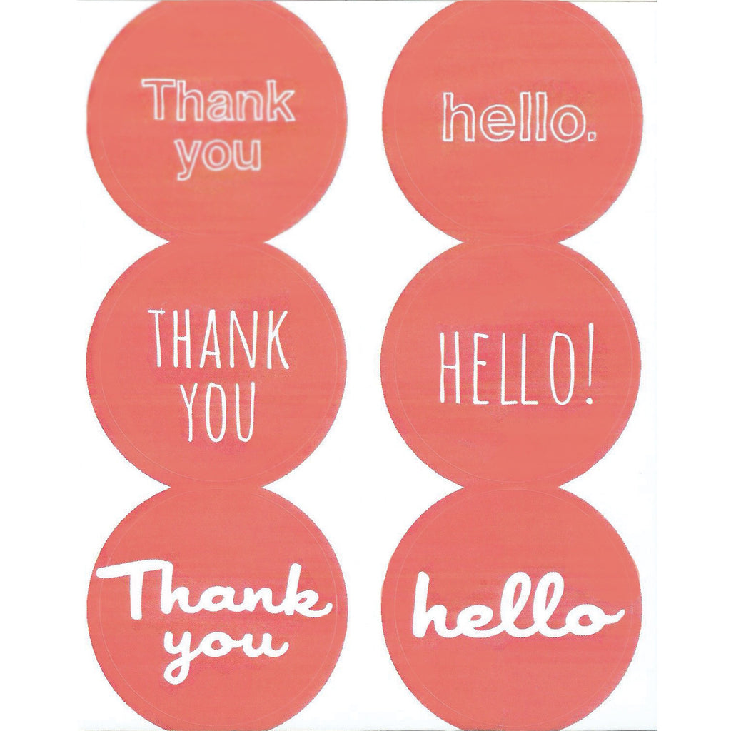 coral thank you hello stickers