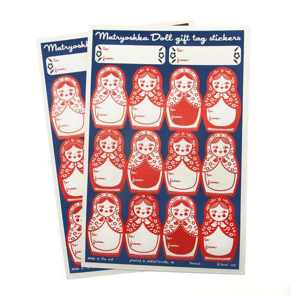 Matryoshka Doll Gift Tag Sticker Set