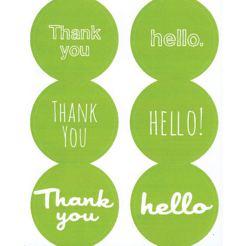 green thank you hello stickers