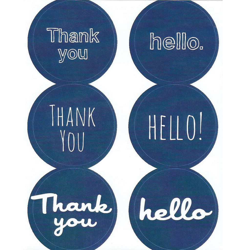 navy blue thank you hello stickers
