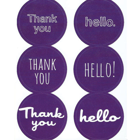 purple thank you hello stickers