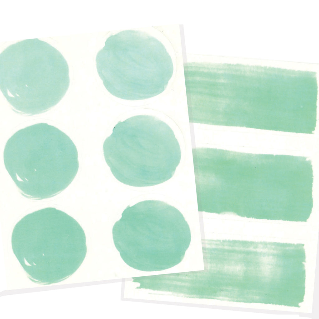 Watercolor letter seals in mint.