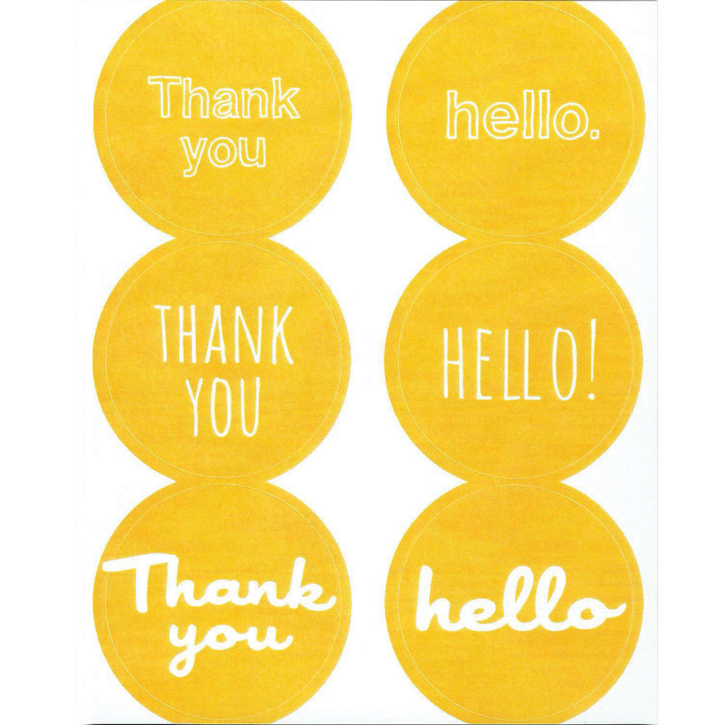 yellow thank you hello stickers
