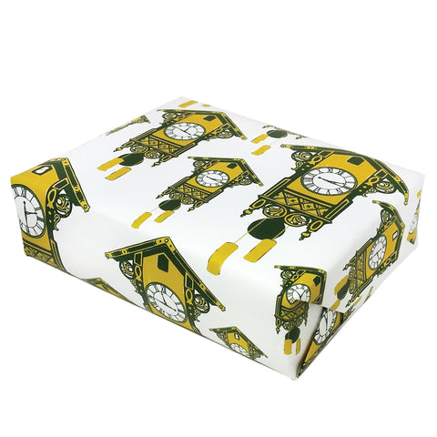 Cuckoo Clock Gift Wrap in Green and Yellow