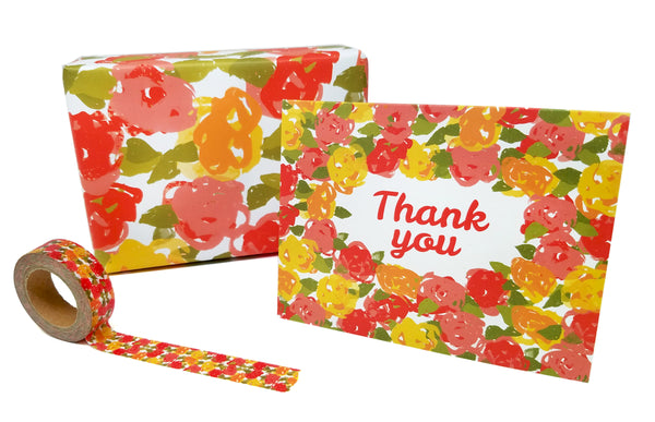 Vintage Floral Thank You Note Card