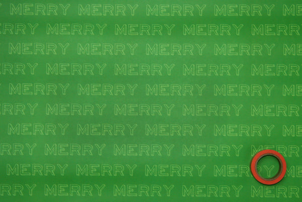 SALE, 50% OFF - MERRY Typographical Gift Wrapping Paper Sheets in Green