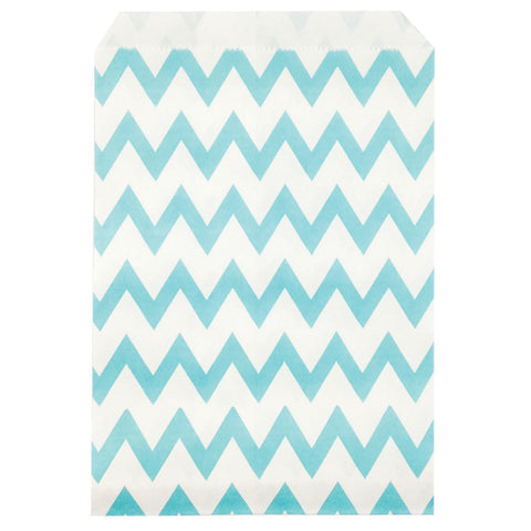 Baby blue chevron party bags.