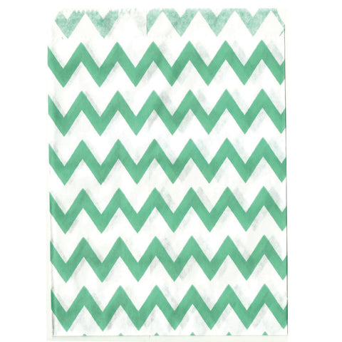 Mint chevron party bags great for dessert tables.