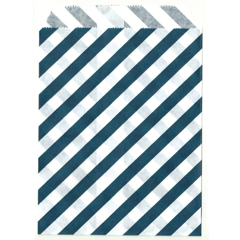 Striped navy blue goodie bags.