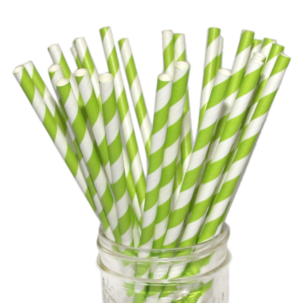 Bright green paper party straws beve
