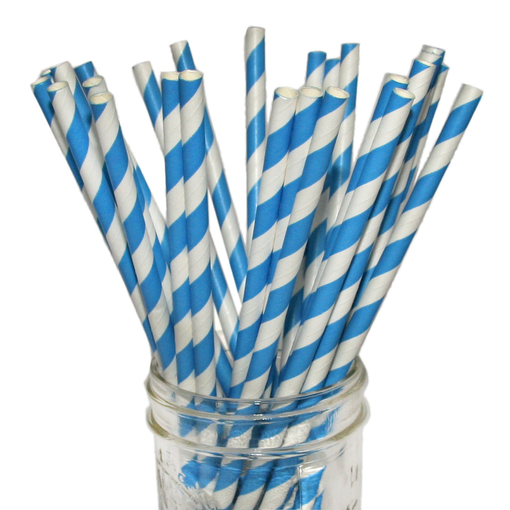 Blue wedding striped paper straws.