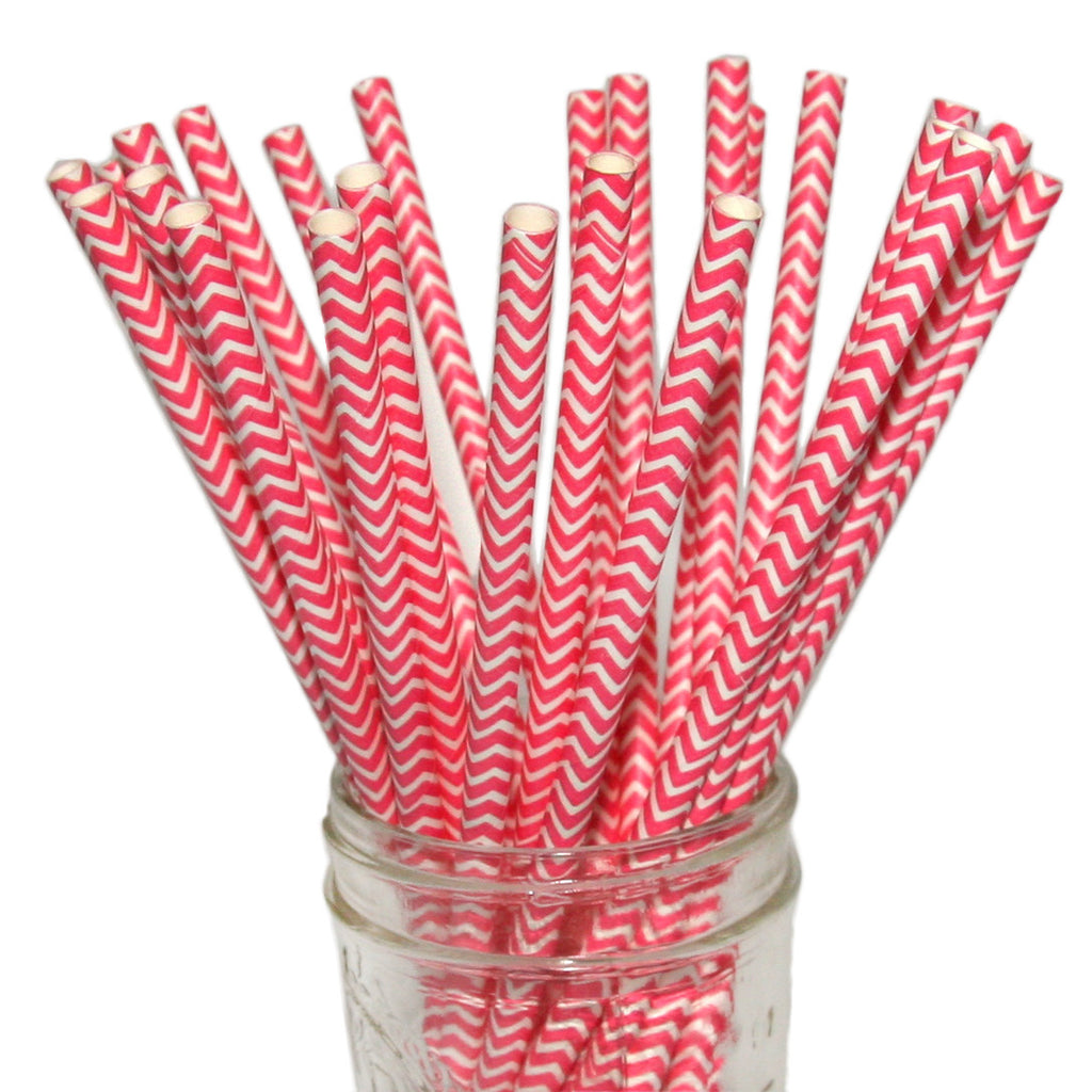 Bright Pink Chevron Paper Straws