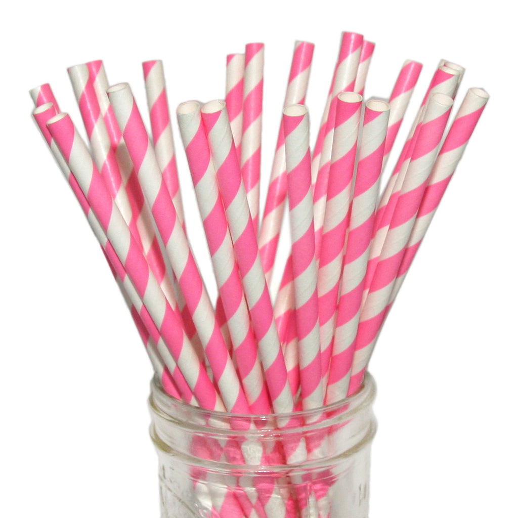 Hot pink striped paper straws.
