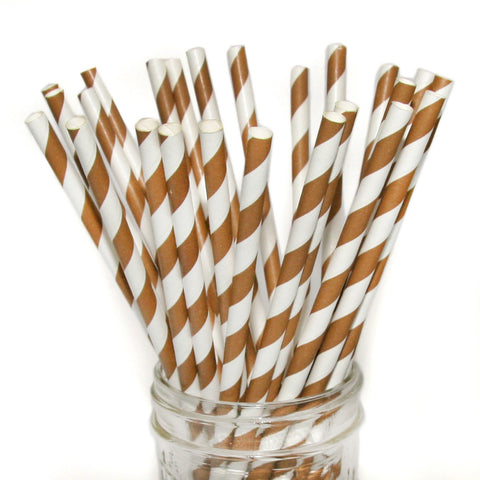 Brown striped paper party straws.