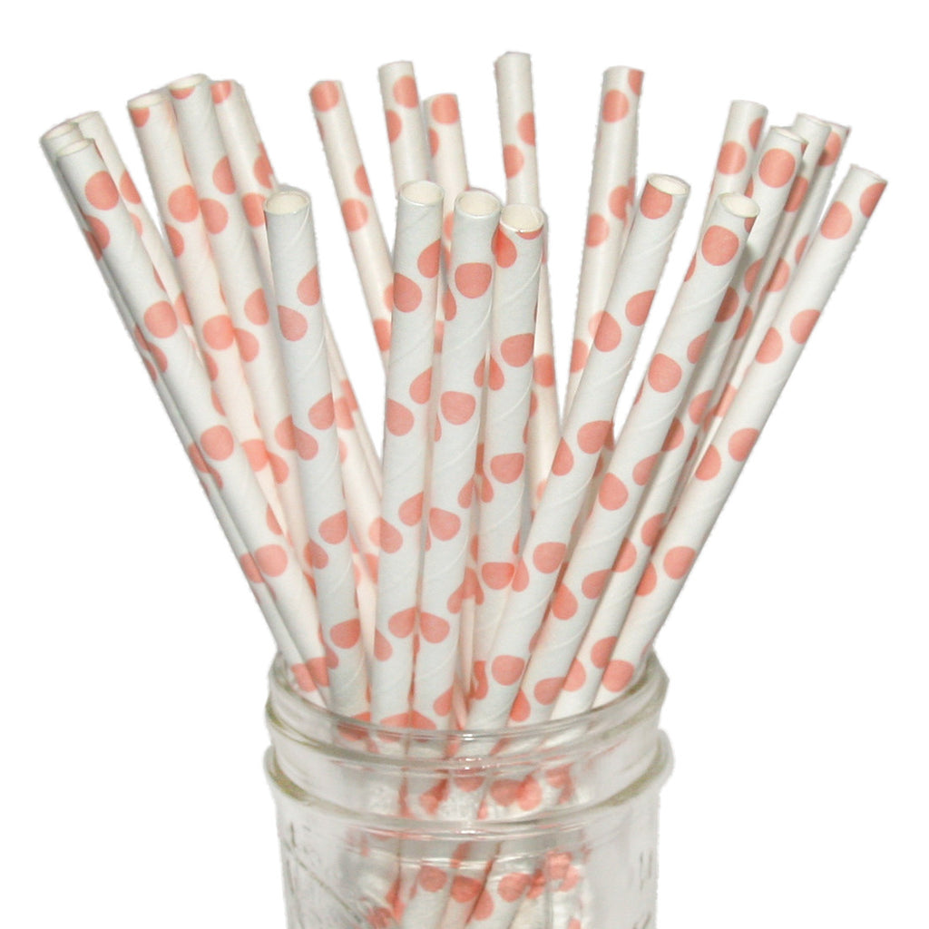 Coral paper straws for a coral wedding.