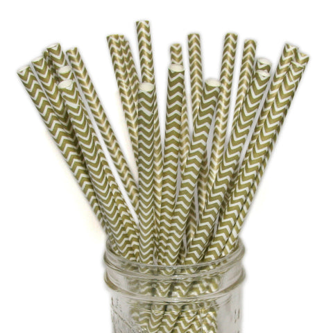 Gold wedding party straws in chevron print.
