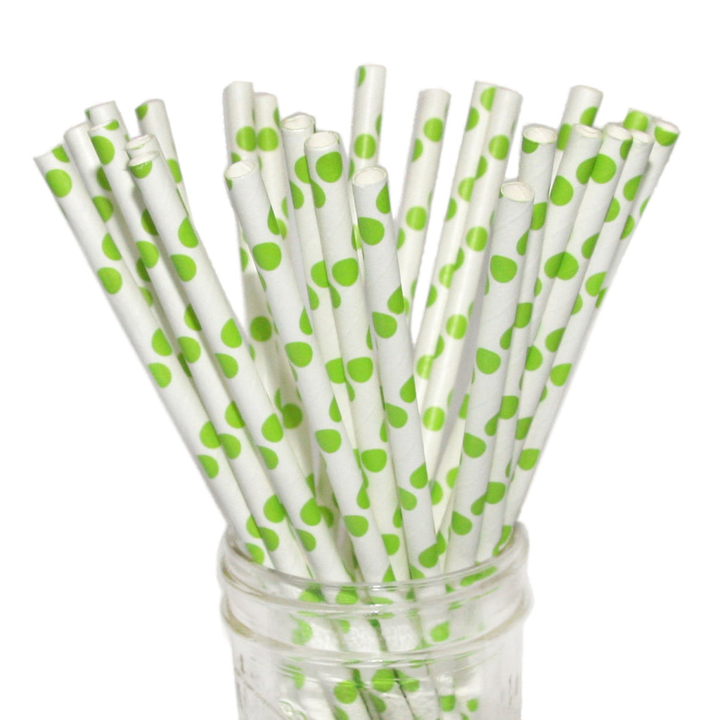 bright green polka dot paper straws