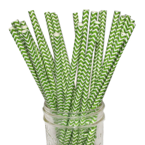 Green Chevron Paper Straws