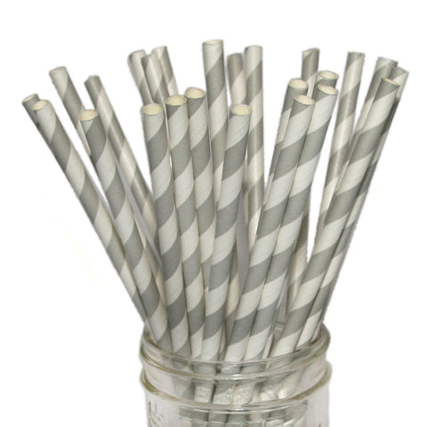 Gray striped paper straws for weddings.