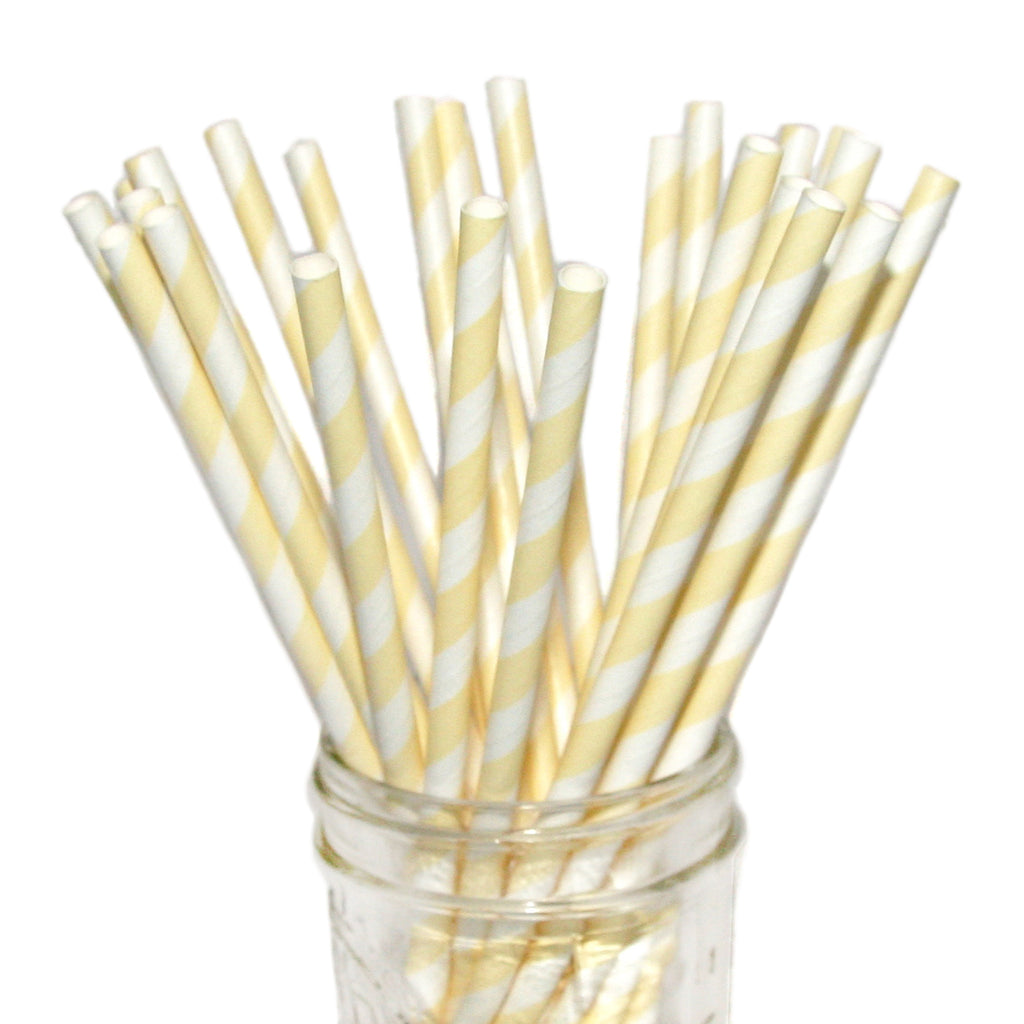 SALE: Ivory Striped Paper Straws