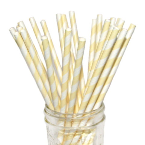 75% OFF - Ivory Striped Paper Straws