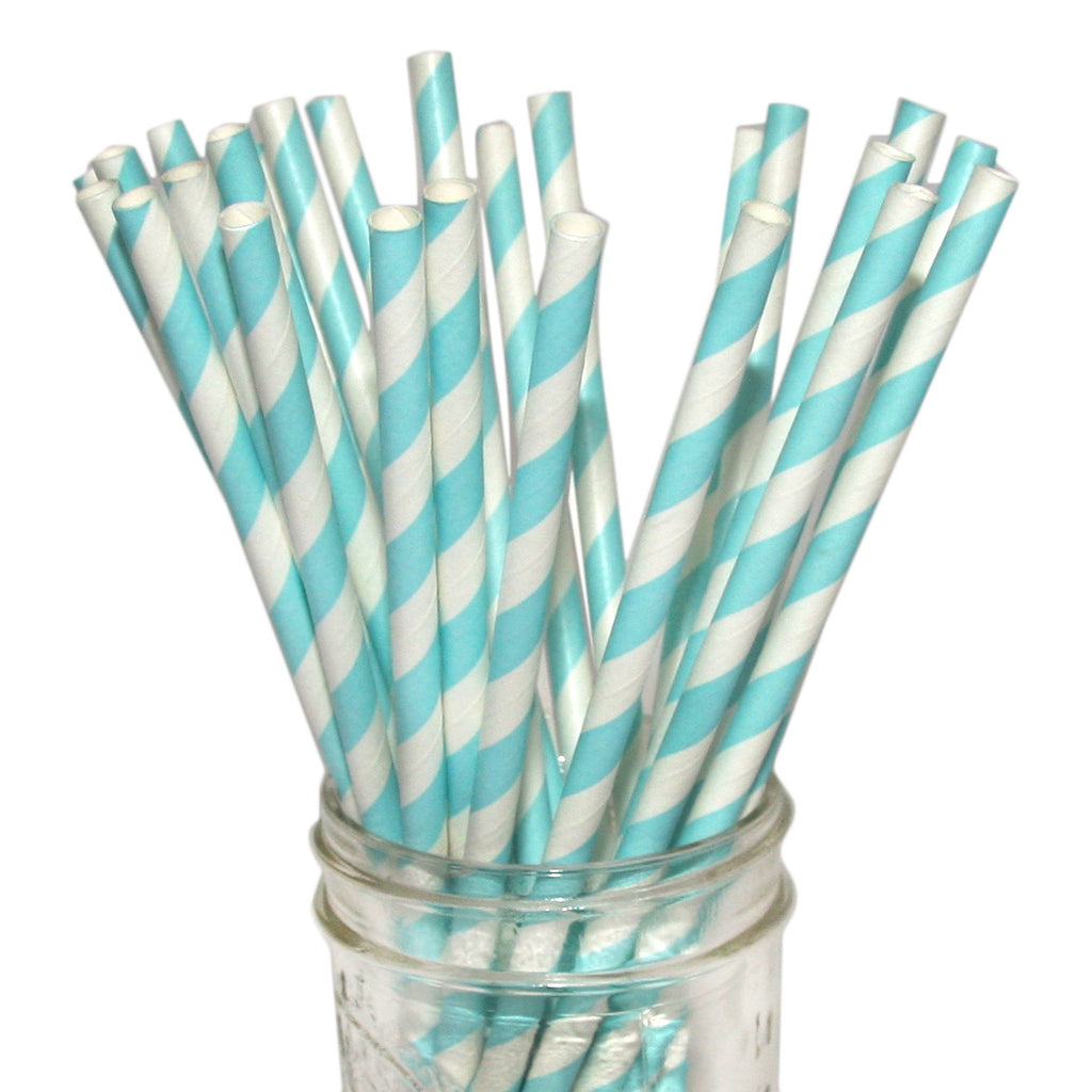 Light blue striped party supplies.
