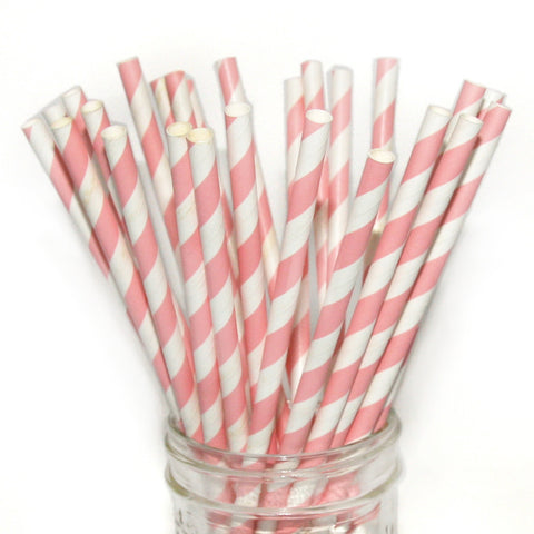 Light pink striped party straws.