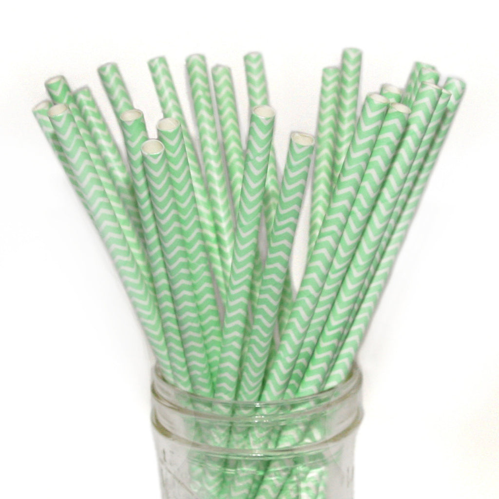 Mint chevron wedding straws.