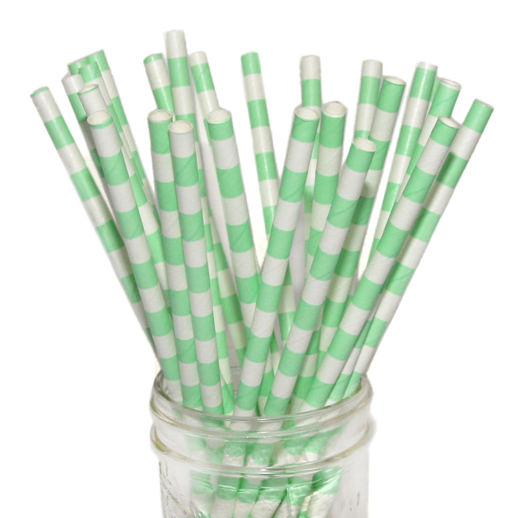 SALE: Mint Horizontal Striped Paper Straws