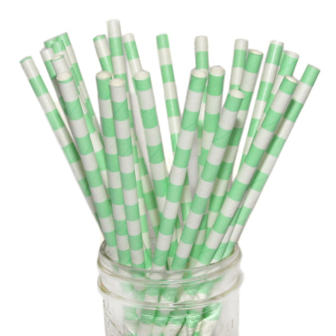 SALE, 50% OFF: Mint Horizontal Striped Paper Straws