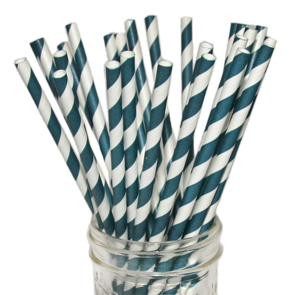 Navy blue striped paper straws.
