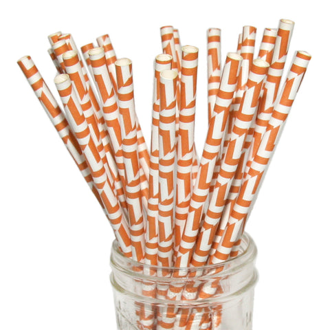 Orange herringbone paper straws.