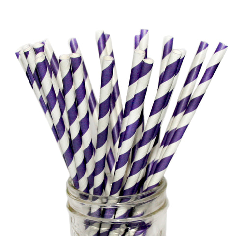 SALE: Purple Striped Paper Straws