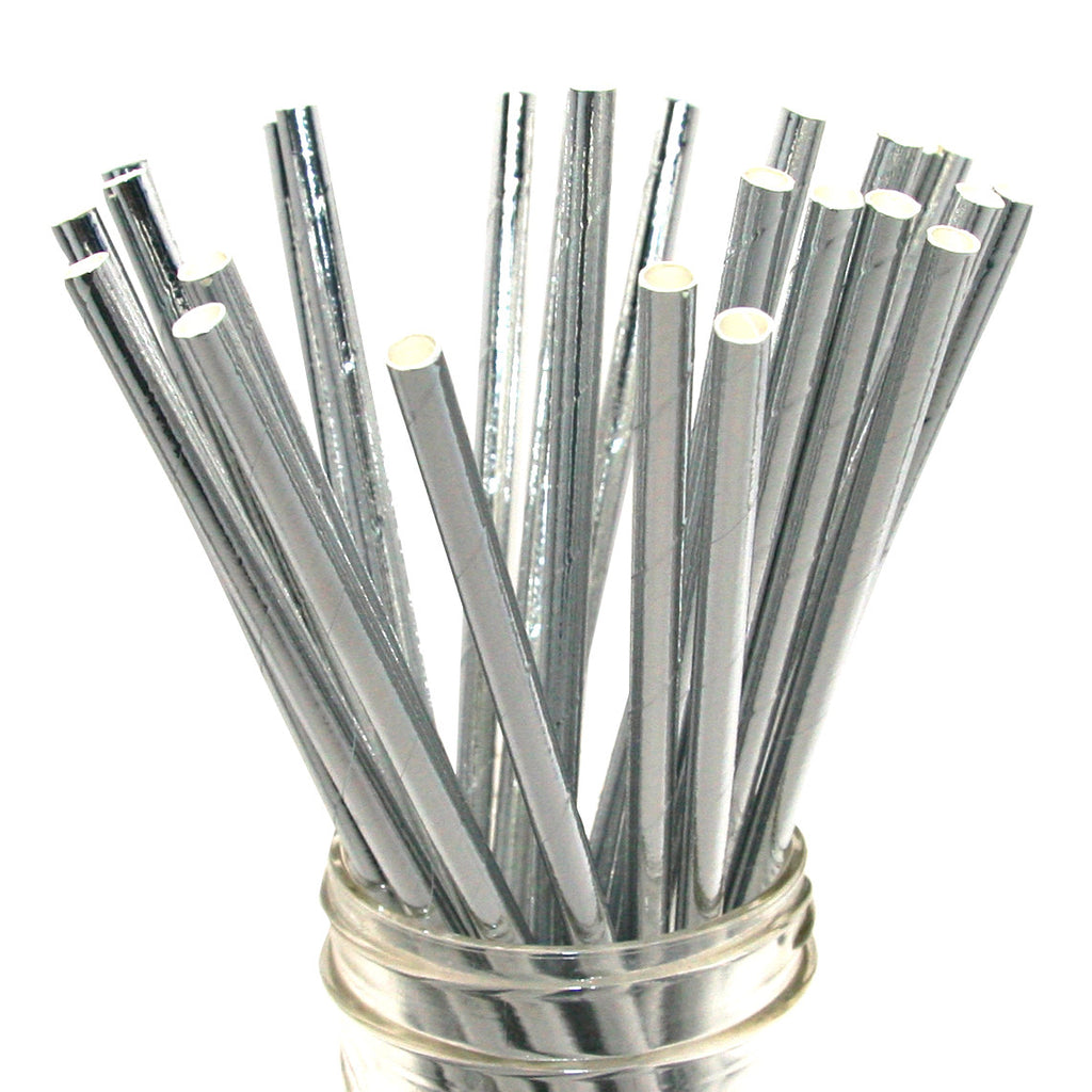 Solid Silver Foil Paper Straws