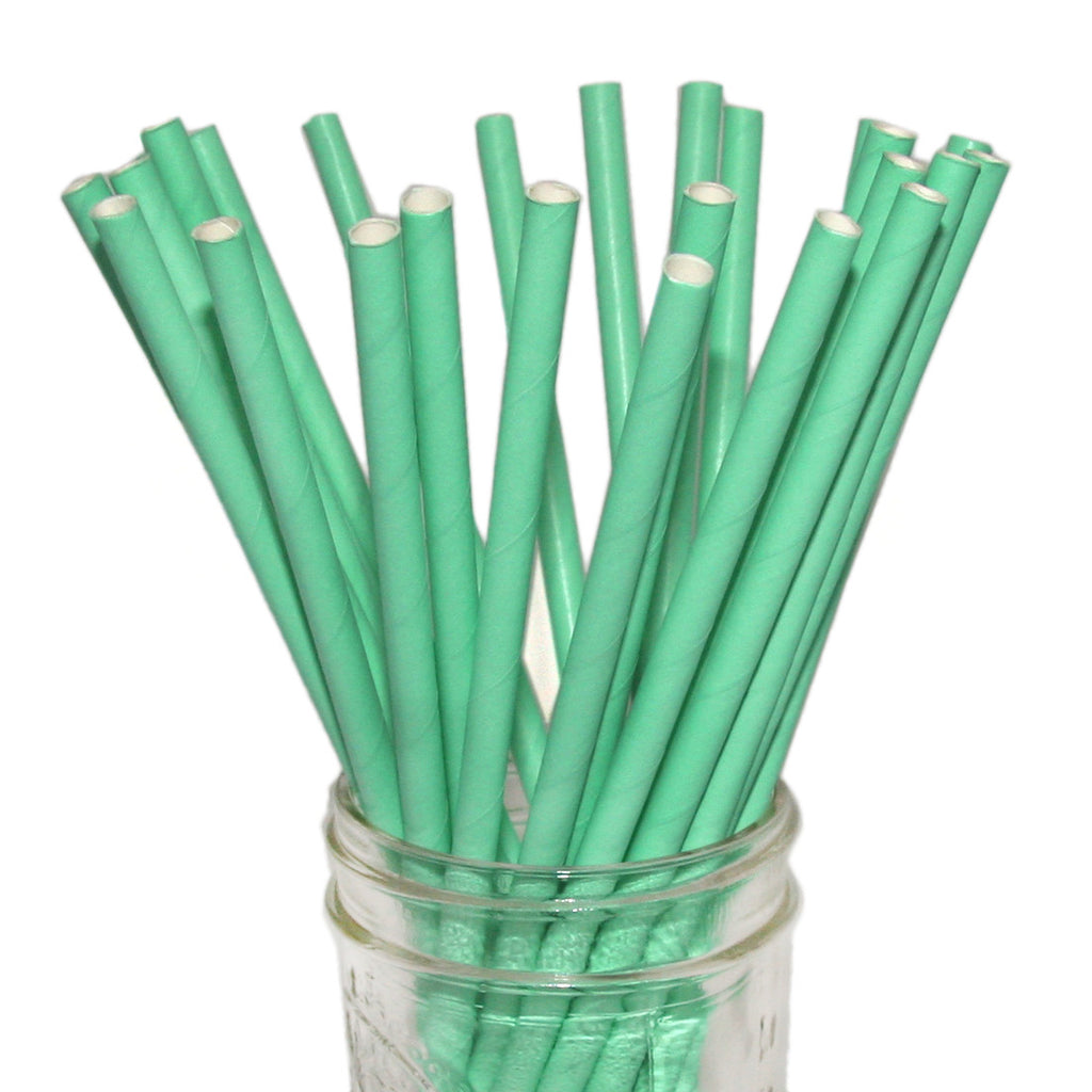 Teal paper party straws.