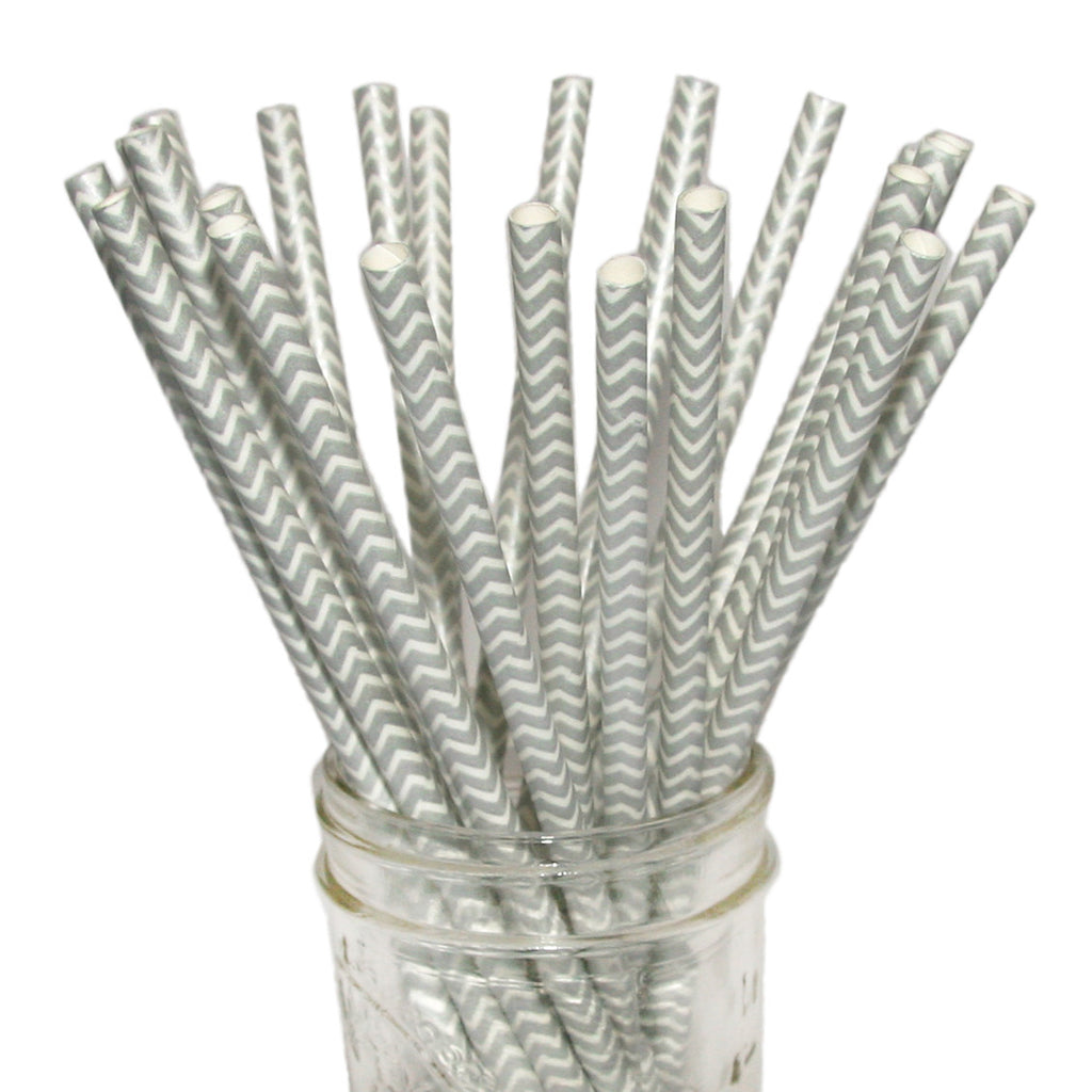 Metallic chevron paper straws in silver.