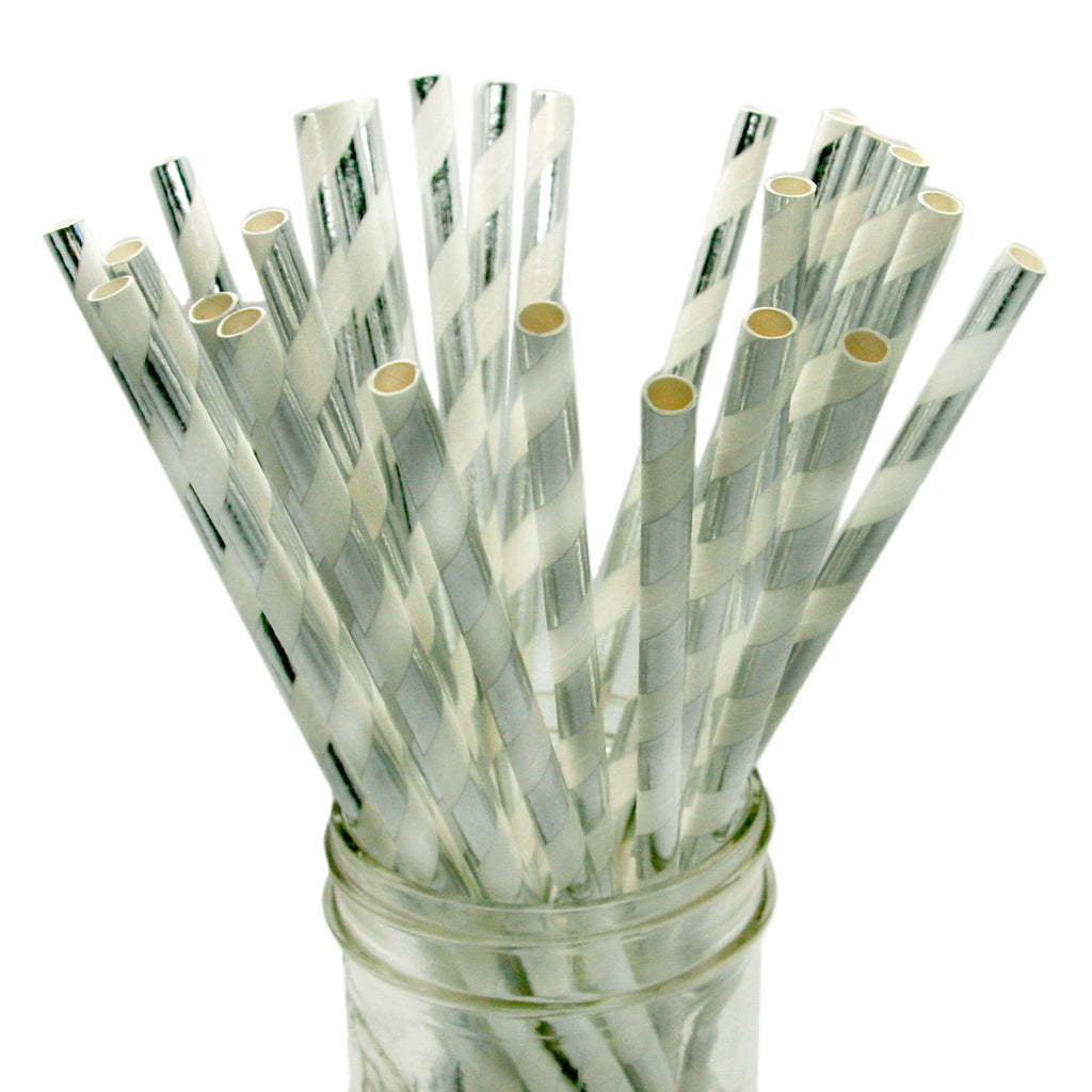 Silver Foil Striped Paper Straws
