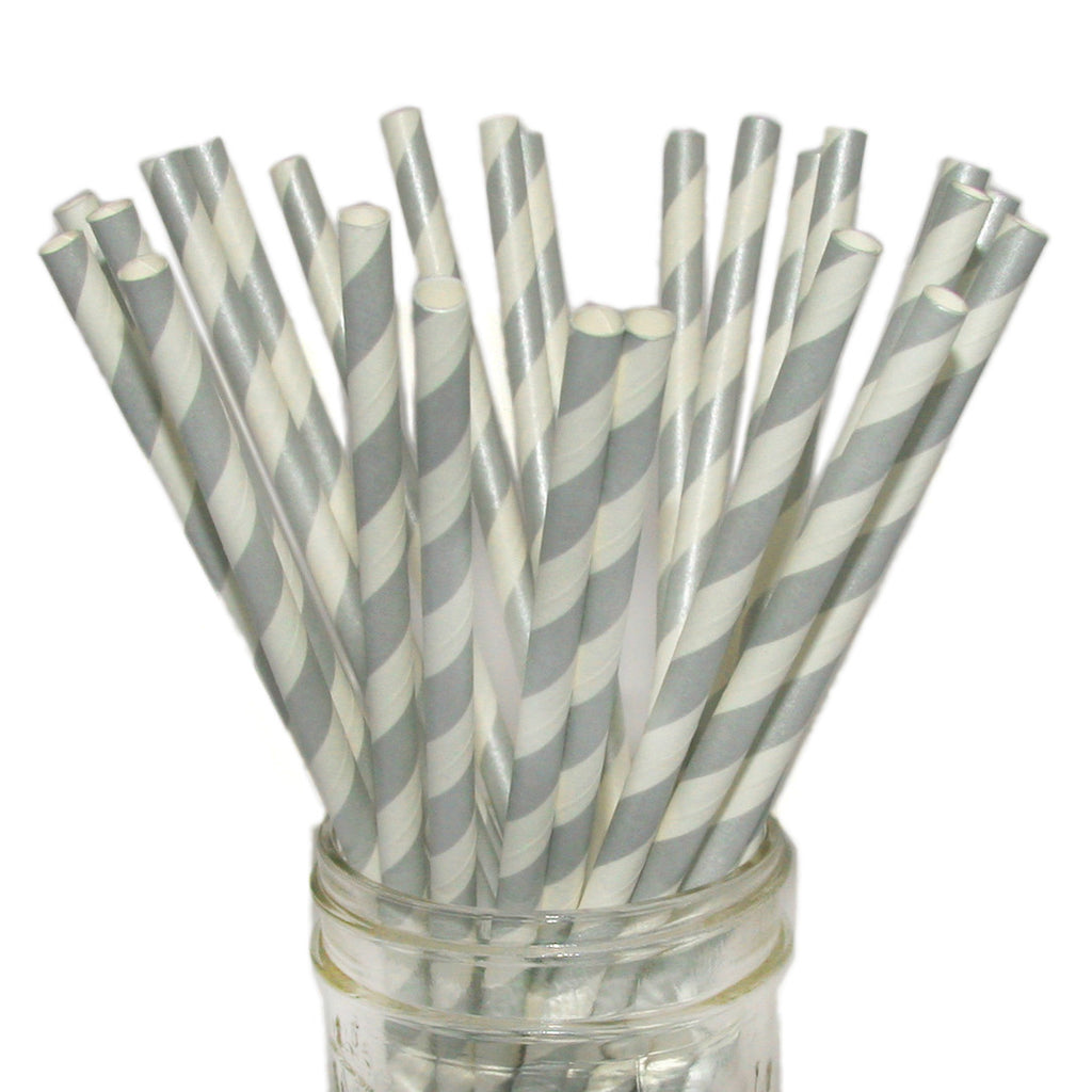 Silver striped paper straws.