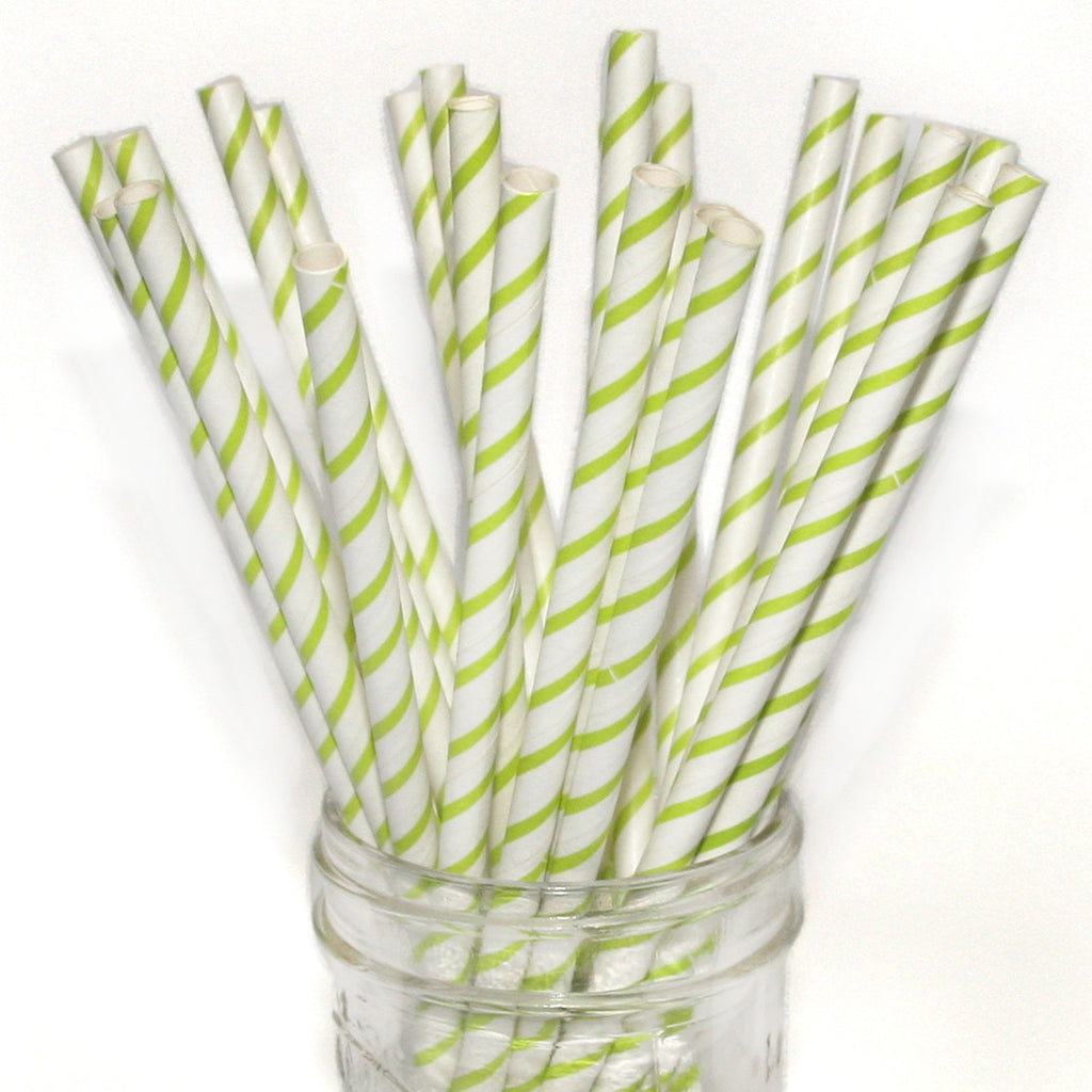 Skinny striped paper straws in green.