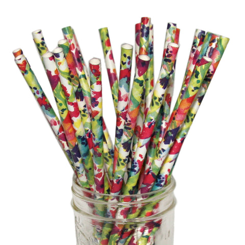 Floral paper straws are great for a watercolor themed wedding or party.