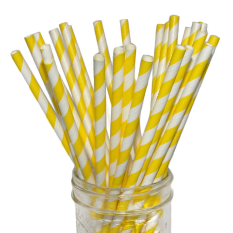 Striped yellow paper straws.