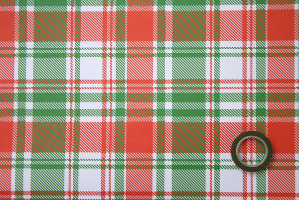SALE, 50% OFF - Plaid Wrapping Paper Sheets in Red and Green