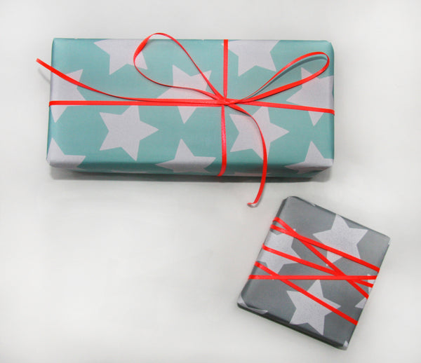 Star Gift Wrapping Paper Sheets in Carnival Blue